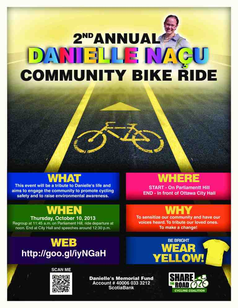 Poster courtesy Danielle Naçu's Annual Community Bike Ride via Citizens for Safe Cycling