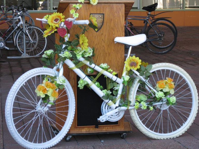 The painted bike that serves as a memorial to Danielle Naçu – D. Deby photo