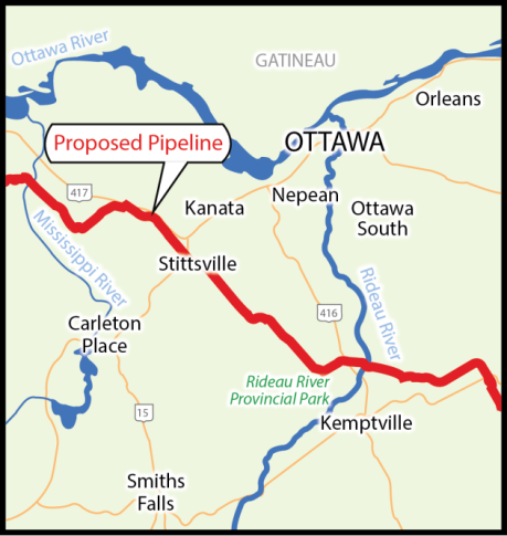 The proposed pipeline route image created for Ecology Ottawa by Kathleen Black. http://ecologyottawa.ca/campaigns/tar-free-613/