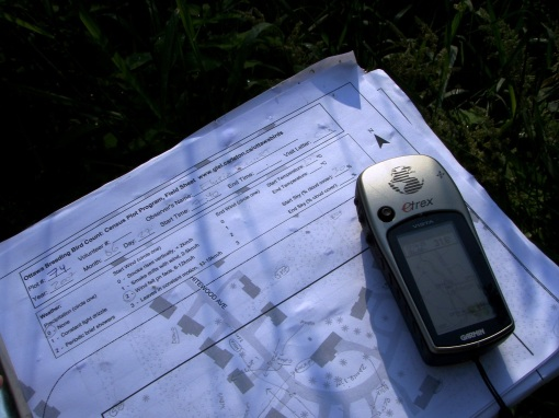 GPS and field sheets - photo courtesy Ottawa Bird Count