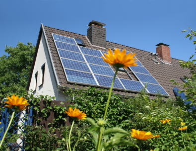 Solar panels on house - photo courtesy of EnviroCentre