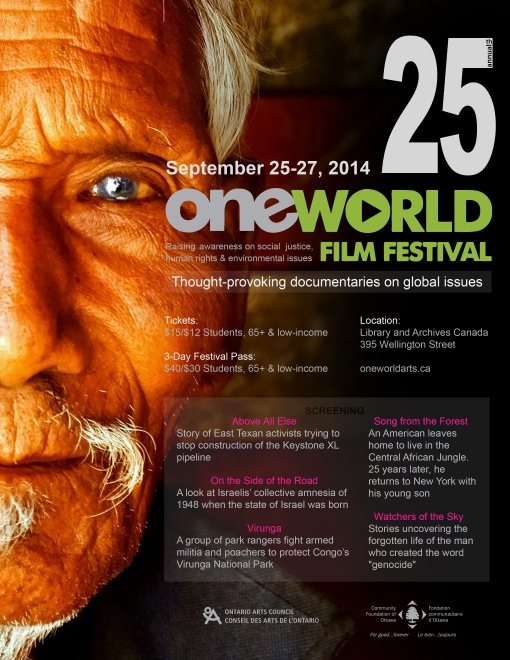 25th Annual One World Film Festival Official Poster by Christine Nguyen http://www.oneworldarts.ca/film/poster-contest