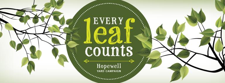 Every Leaf Counts logo by Julia Escott Albert (via Hopewell Yard Campaign)