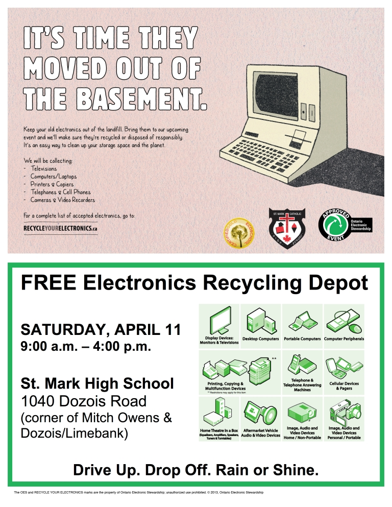 St. Mark eWaste Recycling Event Flyer