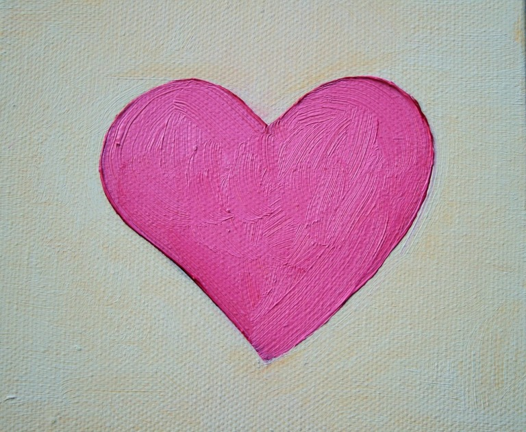 Heart on Pixabay CC0 Public Domain https://pixabay.com/en/heart-pink-painted-oils-canvas-316630/